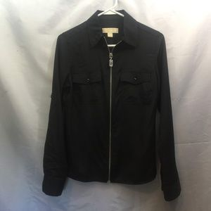 Michael Kors Size S Black Full Zip Blouse